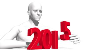 3d 2015 year number. Constructed by abstract man Stock Photography