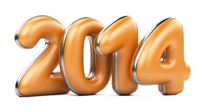 3D 2014 year orange figures with silver edging Stock Photography