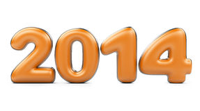 3D 2014 year orange figures with silver edging. On na white background Stock Photography