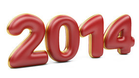 3D 2014 year red figures with golden edging. On na white background stock illustration