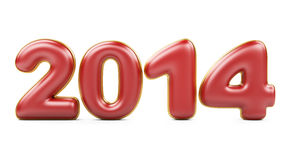 3D 2014 year red figures with golden edging Stock Image