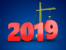 3d 2019 year sign. 3d illustration of 2019 year sign over blue background Stock Photos