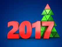 3d 2017 year sign. 3d illustration of 2017 year sign over blue background Royalty Free Stock Image