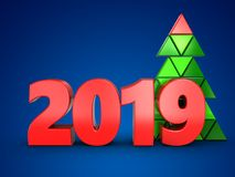3d 2019 year sign. 3d illustration of 2019 year sign over blue background Stock Image