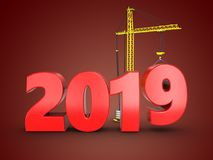3d 2019 year sign. 3d illustration of 2019 year sign over red background Stock Photography