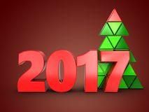 3d 2017 year sign. 3d illustration of 2017 year sign over red background Royalty Free Stock Photography