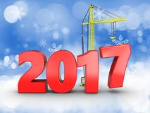 3d 2017 year sign. 3d illustration of 2017 year sign over snow background Royalty Free Stock Images