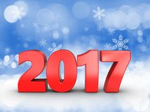 3d 2017 year sign. 3d illustration of 2017 year sign over snow background Stock Photo