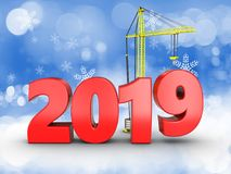 3d 2019 year sign. 3d illustration of 2019 year sign over snow background stock illustration