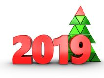 3d 2019 year sign. 3d illustration of 2019 year sign over white background Royalty Free Stock Photography