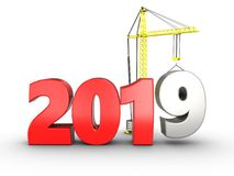 3d 2019 year sign. 3d illustration of 2019 year sign over white background Stock Image
