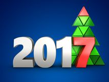 3d 2017 year silver sign. 3d illustration of 2017 year silver sign over blue background Stock Photo