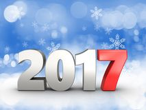 3d 2017 year silver sign. 3d illustration of 2017 year silver sign over snow background Stock Photo