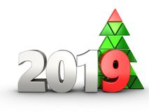 3d 2019 year silver sign. 3d illustration of 2019 year silver sign over white background Stock Photo
