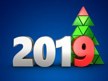 3d 2019 year silver sign. 3d illustration of 2019 year silver sign over blue background Royalty Free Stock Photo