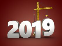 3d 2019 year silver sign. 3d illustration of 2019 year silver sign over red background Stock Photo