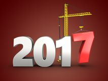 3d 2017 year silver sign. 3d illustration of 2017 year silver sign over red background Stock Photo