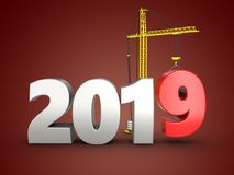 3d 2019 year silver sign. 3d illustration of 2019 year silver sign over red background Royalty Free Stock Photos
