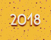 3D 2018 year symbol, icon or button  on yellow background, represents the new year 2018. Three-dimensional rendering, 3D illustration Royalty Free Stock Images