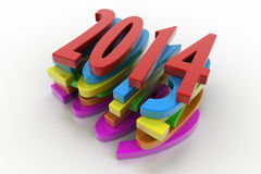 3D 2014 year. In white background Royalty Free Stock Photo