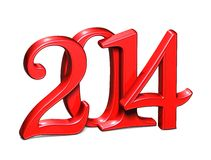3D Year 2014 on white background.  Royalty Free Stock Images