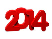 3D Year 2014 on white background.  Stock Images