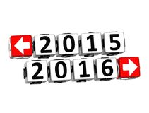 3D Year 2015 year 2016  Button Click Here Block Text. 3D Year 2015 year 2016 Button Click Here Block Text over white background Royalty Free Stock Photos