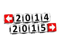 3D Year 2014 year 2015  Button Click Here Block Text Stock Image