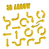 3d yellow arrow set collection. Over white background Royalty Free Stock Images