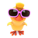 3d Yellow bird wears pink sunglasses Royalty Free Stock Photography