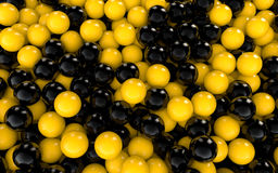3d yellow and black balls. 3d render of yellow and black balls Stock Image