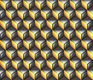 3d yellow and black contour abstract geometrical cubes seamless pattern background Royalty Free Stock Photo