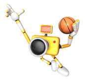 3D Yellow camera basketball player Vigorously jumping Royalty Free Stock Images