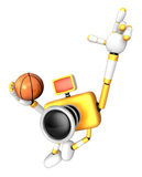 3D Yellow camera basketball player Vigorously jumping Stock Photography