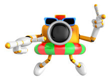 3d Yellow Camera Character dip tube ride. Create 3D Camera Robot Royalty Free Stock Photo