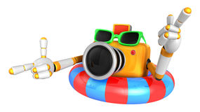 3d Yellow Camera Character dip tube ride. Create 3D Camera Robot Stock Image