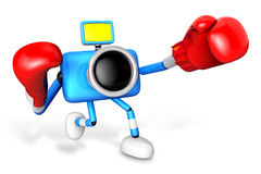 3D Yellow Camera character is doing a vigorously punching boxer. Stock Photo