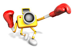 3D Yellow Camera character is doing a vigorously punching boxer. Royalty Free Stock Image