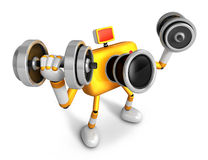 3D Yellow Camera character a Dumbbell curl Exercise. Create 3D C Stock Images