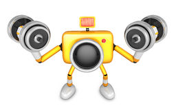 3D Yellow Camera character a Dumbbell curl Exercise. Create 3D C Stock Photo