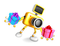 3D Yellow Camera character holding a gift. Create 3D Camera Robo Stock Photo