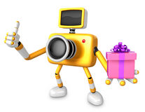 3D Yellow Camera character holding a gift. Create 3D Camera Robo Royalty Free Stock Photo