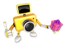3D Yellow Camera character holding a gift. Create 3D Camera Robo Royalty Free Stock Photos