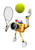 3D Yellow Camera character is a powerful tennis game play exerci Royalty Free Stock Photos