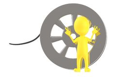 3d yellow character and a film reel. 3d rendering stock illustration