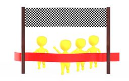 3d yellow character is about to cross the finish line precceding many other character,s. 3d rendering Stock Photography