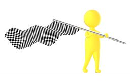 3d yellow character waving a checker flag. 3d rendering Royalty Free Stock Photography