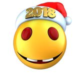 3d yellow emoticon smile with 2018 Christmas hat. 3d illustration of yellow emoticon smile with 2018 Christmas hat over white background Stock Photos