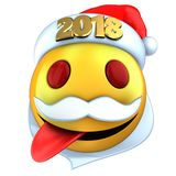 3d yellow emoticon smile with 2018 Christmas hat. 3d illustration of yellow emoticon smile with 2018 Christmas hat over white background Stock Image