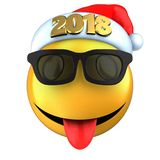 3d yellow emoticon smile with 2018 Christmas hat. 3d illustration of yellow emoticon smile with 2018 Christmas hat over white background Royalty Free Stock Photo